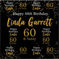 70TH SEVENTIETH BLACK GOLD PERSONALISED BIRTHDAY PARTY BANNER BACKDROP BACKGROUND