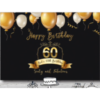 60TH SIXTIETH BLACK GOLD PERSONALISED BIRTHDAY PARTY BANNER BACKDROP BACKGROUND