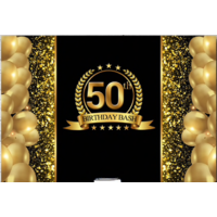 18TH EIGHTEENTH BLACK GOLD PERSONALISED BIRTHDAY PARTY BANNER BACKDROP BACKGROUND