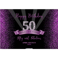 50TH FIFTIETH BLACK PURPLE PERSONALISED BIRTHDAY PARTY BANNER BACKDROP BACKGROUND