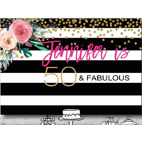 40TH FORTIETH FLOWER PERSONALISED BIRTHDAY PARTY BANNER BACKDROP BACKGROUND