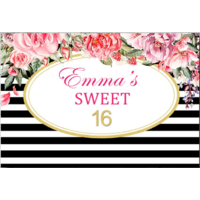 18TH EIGHTEENTH FLOWER PERSONALISED BIRTHDAY PARTY BANNER BACKDROP BACKGROUND