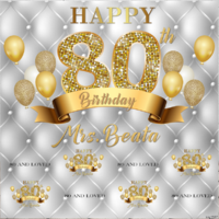 16TH SIXTEENTH SILVER GOLD PERSONALISED BIRTHDAY PARTY BANNER BACKDROP BACKGROUND