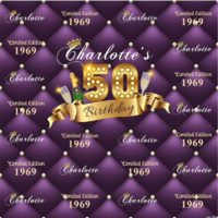 18TH EIGHTEENTH BLACK PURPLE PERSONALISED BIRTHDAY PARTY BANNER BACKDROP BACKGROUND