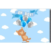 TEDDY BEAR PERSONALISED BABY SHOWER PARTY BANNER BACKDROP BACKGROUND