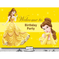 BEAUTY AND THE BEAST BELLE PERSONALISED BIRTHDAY PARTY BANNER BACKDROP BACKGROUND