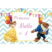 BEAUTY AND THE BEAST PERSONALISED BIRTHDAY PARTY BANNER BACKDROP BACKGROUND