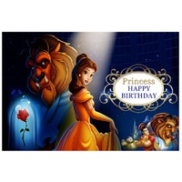 BEAUTY AND THE BEAST BLUE PERSONALISED BIRTHDAY PARTY BANNER BACKDROP BACKGROUND