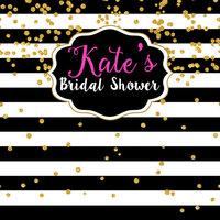 WEDDING BRIDAL SHOWER HENS GOLD BLACK WHITE PERSONALISED PARTY BANNER BACKDROP