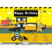 CONSTRUCTION TRUCKS PERSONALISED BIRTHDAY PARTY BANNER BACKDROP BACKGROUND