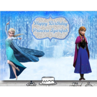 FROZEN ANNA ELSA PERSONALISED BIRTHDAY PARTY BANNER BACKDROP BACKGROUND