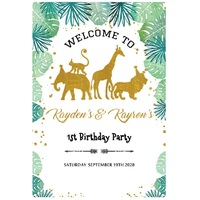 JUNGLE SAFARI WILD GOLD ANIMAL PERSONALISED BIRTHDAY PARTY BANNER BACKDROP