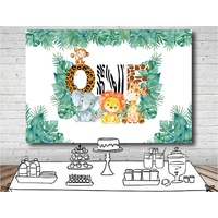 JUNGLE SAFARI ANIMAL WILD ONE PERSONALISED BIRTHDAY PARTY BANNER BACKDROP