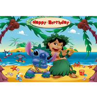 LILO AND STITCH DOG PERSONALISED BIRTHDAY PARTY BANNER BACKDROP BACKGROUND