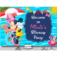 MINNIE MOUSE HAWAII POOL PERSONALISED BIRTHDAY PARTY BANNER BACKDROP BACKGROUND