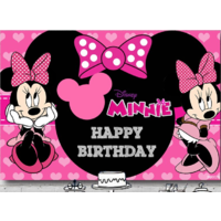 MINNIE MOUSE PINK BLACK PERSONALISED BIRTHDAY PARTY BANNER BACKDROP BACKGROUND