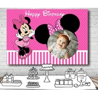 MINNIE MOUSE PHOTO BIRTHDAY PERSONALISED BIRTHDAY PARTY BANNER BACKDROP
