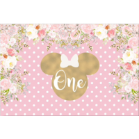 MINNIE MOUSE FLOWER PERSONALISED BIRTHDAY PARTY BANNER BACKDROP BACKGROUND