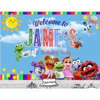 THE MUPPETS BABIES BLUE PERSONALISED BIRTHDAY PARTY BANNER BACKDROP BACKGROUND
