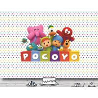 POCOYO POCKA DOT PERSONALISED BIRTHDAY PARTY BANNER BACKDROP BACKGROUND