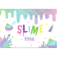 SLIME GLUE GLITTER PERSONALISED BIRTHDAY PARTY BANNER BACKDROP BACKGROUND