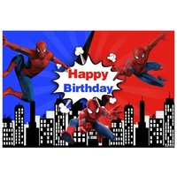 SPIDERMAN WEB SPIDER BLUE PERSONALISED BIRTHDAY PARTY BANNER BACKDROP