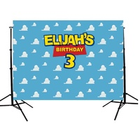 TOY STORY CLOUDS PERSONALISED BIRTHDAY PARTY BANNER BACKDROP BACKGROUND