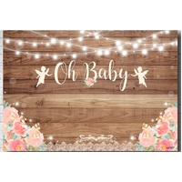 WEDDING ENGAGEMENT BRIDAL SHOWER WOOD FLOWER PERSONALISED BANNER BACKDROP BACKGROUND