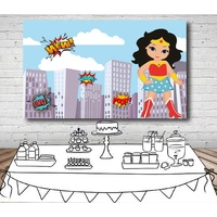 WONDER WOMAN SUPERHERO PERSONALISED BIRTHDAY PARTY BANNER BACKDROP BACKGROUND